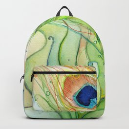 Peacock Feather Green Texture and Bubbles Backpack