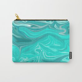 Turquoise Marble Texture Carry-All Pouch