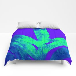 Blue Ultraviolet Green Earth Day Fern Comforters