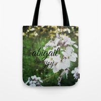 abigail larson Tote Bags featuring Abigail by KimberosePhotography