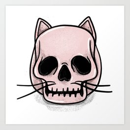 Cute Pattern Illustration of a human - cat skull Art Print