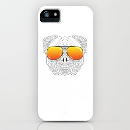 Pug Dog Hairy Face with Sunset Sunglasses Hand Drawn iPhone Case