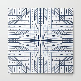 Scratched - Navy and White Metal Print