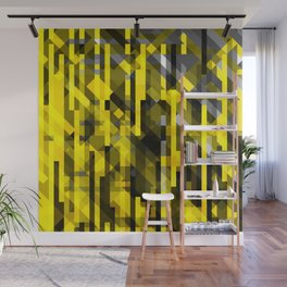 abstract composition in yellow and grays Wall Mural