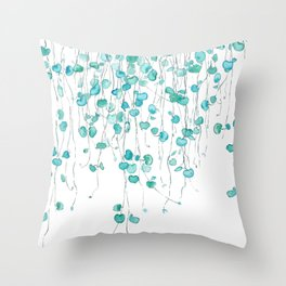 string of hearts watercolor Throw Pillow