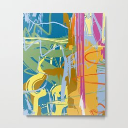 Web Maze | Pastel Abstract Art | Abstract art Prints Metal Print