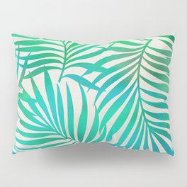 Turquoise Green Palm Leaves Pillow Sham