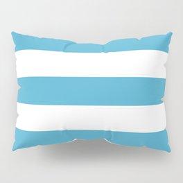 Maximum blue - solid color - white stripes pattern Pillow Sham