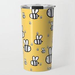 Cute baby print. Fat bees on honey orange background. Travel Mug