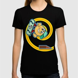 Skater Cartoon Character Looping over Green Background T-shirt