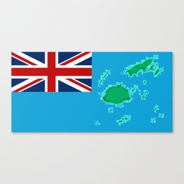 Fiji Map with Fijian iTaukei Flag Canvas Print