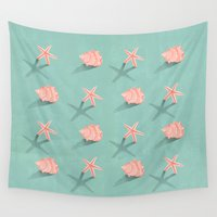 starfish Wall Tapestries featuring Conch & Starfish by S.Y.Hong