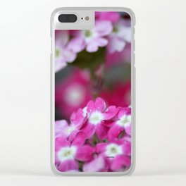 Pink White Verbena Flowers Clear iPhone Case
