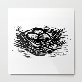 Birds Nest with Several Eggs Black & Whiate Metal Print