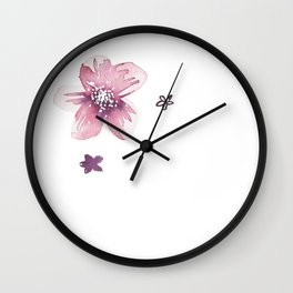 Lilac Pink Watercolour Fiordland Flower Wall Clock