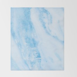 Shimmery Blue Clouds Marble Metallic Throw Blanket