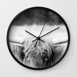 Black and White Highland Cow | Farm Animal Photograph Wall Clock