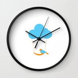 Cute bird and cloud Wall Clock