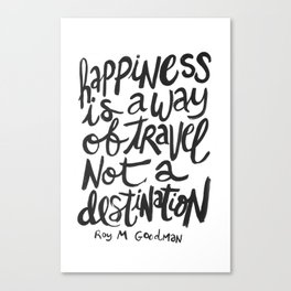 happiness quote hand lettered print Canvas Print