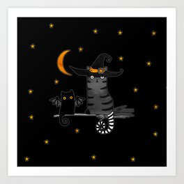 Magic Whitch cat in a hat and her black cat-bat for Halloween Art Print