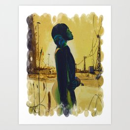 Alone at Sunset Art Print