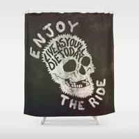 grease Shower Curtains featuring enjoy by The Junkers