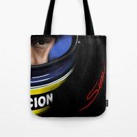 senna Tote Bags featuring Senna Helmet Portrait by Borja Sanz