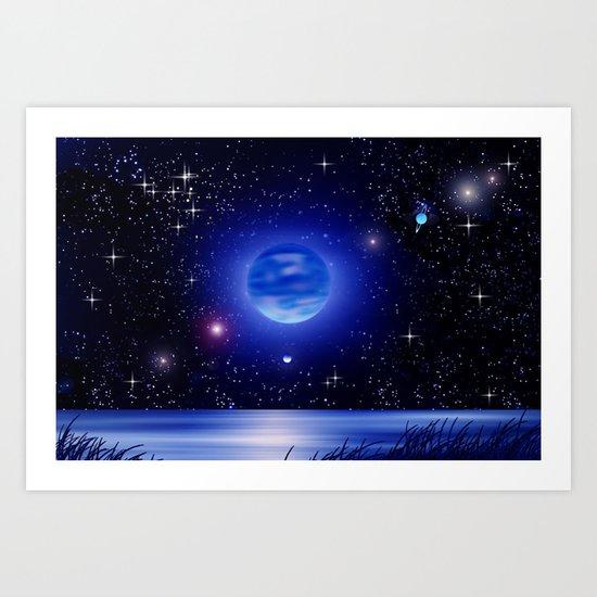 Blue moon over the ocean. Art Print