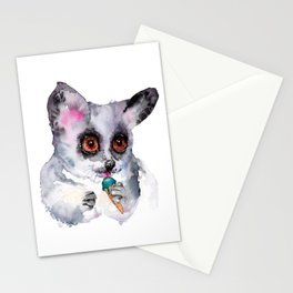 Cute watercolor bush baby with ice cream Stationery Cards