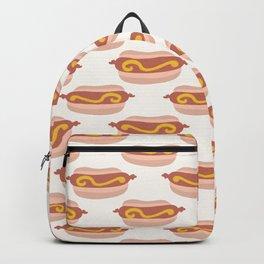 Cute vector hot dog in bun with mustard cartoon Backpack