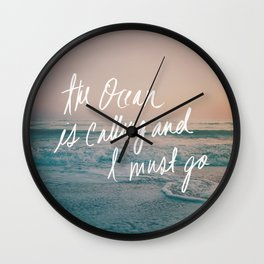 The Ocean is Calling by Laura Ruth and Leah Flores Wall Clock
