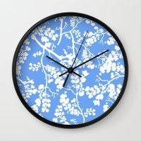 cherry blossom Wall Clocks featuring Cherry Blossom by Elena O'Neill