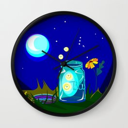 A Jar of Fireflies at Night Wall Clock