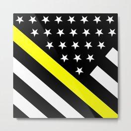 U.S. Flag: Black Flag & The Thin Yellow Line Metal Print