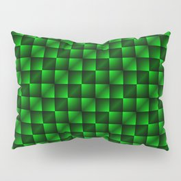 Fashionable large lozenges from small green intersecting squares in gradient dark cage. Pillow Sham