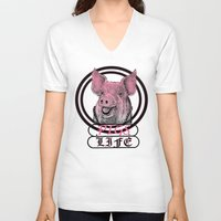 pigs V-neck T-shirts featuring Pigs Life by VirgoSpice
