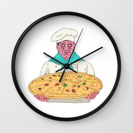 Zombie Chef Holding Pizza Pie Grime Art Wall Clock