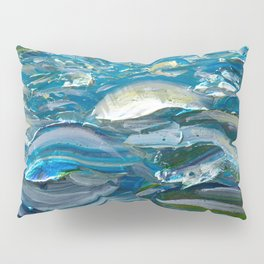 Original Oil Painting With Palette Knife On Canvas  Impressionist Roling Blue Sea Waves by OLena Art Pillow Sham