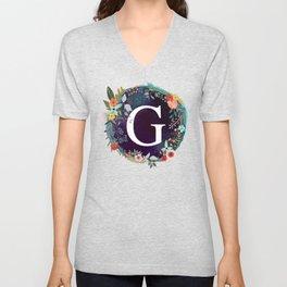 Personalized Monogram Initial Letter G Floral Wreath Artwork Unisex V-Neck