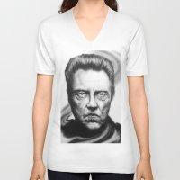 christopher walken V-neck T-shirts featuring Christopher Walken Portrait by joeandersonart