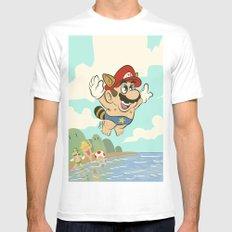 Super Mario! Mens Fitted Tee MEDIUM White