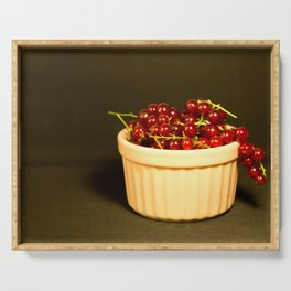 Red currants in a beige bowl on black background Serving Tray