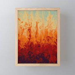 Fiery marble abstract pattern digital illustration  Framed Mini Art Print