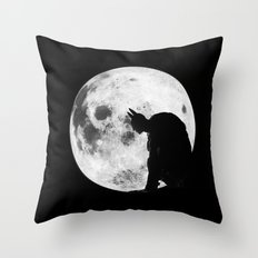 The Bat in the Pale Moonlight Throw Pillow