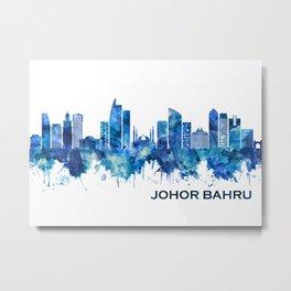 Johor Bahru Malaysia Skyline Blue Metal Print
