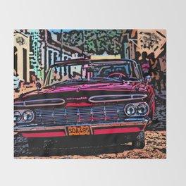 Old american car in Trinidad, Kuba Throw Blanket