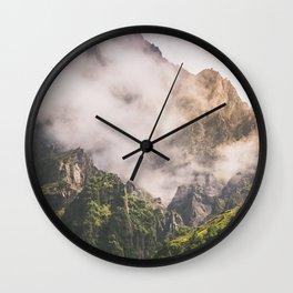 Misty Kazbkek Mounain, landscape,Georgia Wall Clock
