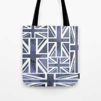 union jack Tote Bags featuring UNION JACK by Oksana Smith