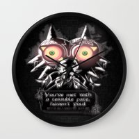 majora Wall Clocks featuring Majora Mask by Janismarika