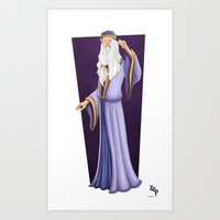 dumbledore Art Prints featuring Dumbledore by Zeynep Aktaş